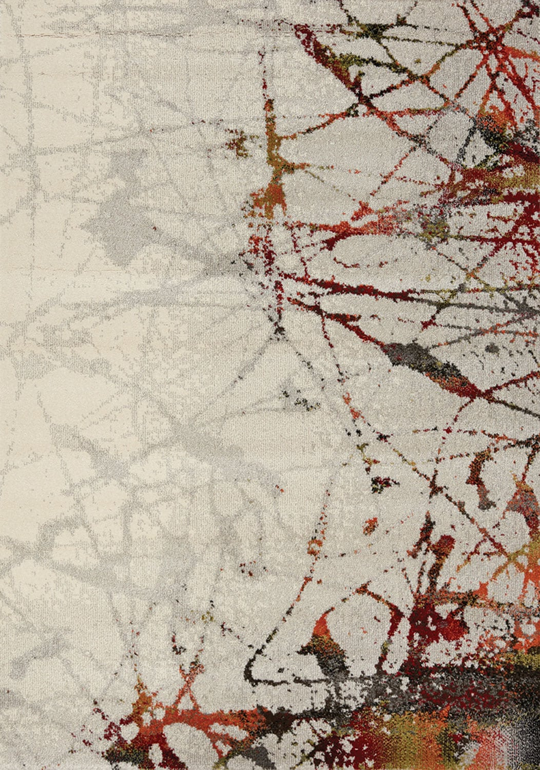 Accent and Occasional Furniture - Splatter 5' x 8' Area Rug - Cream and Black