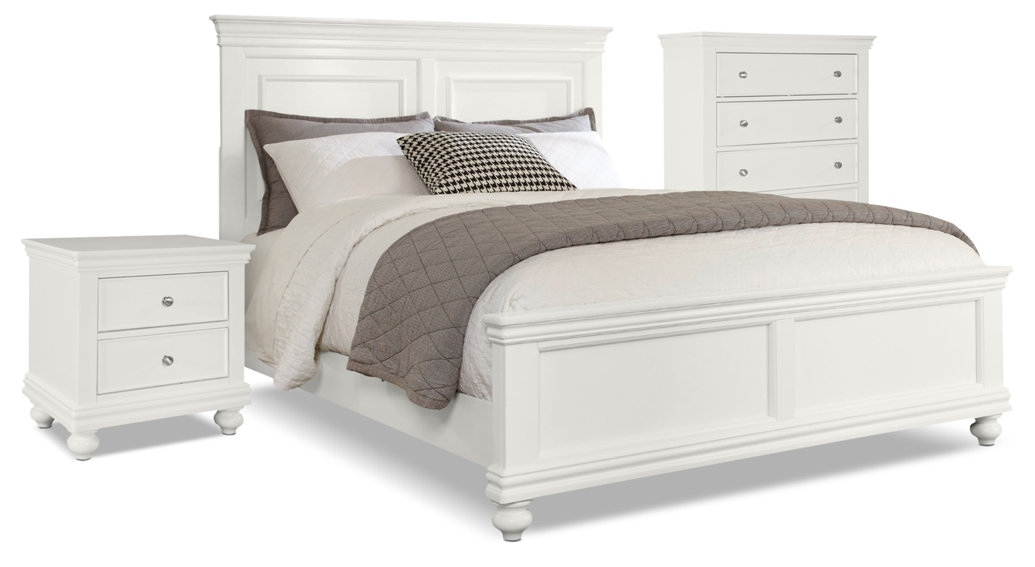 Ens. de chambre à coucher Bridgeport 5pcs avec grand lit, commode verticale, table de nuit - blanc
