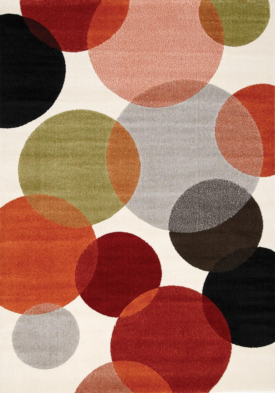Décoratif et Occasionnel - Bubbles Tapis (7 pi X 10 pi) - crème et rouge