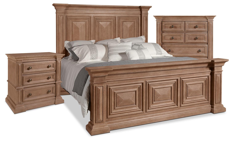 Chambre à coucher - Ens. de chambre à coucher Sedona 5 pièces avec très grand lit, commode verticale et table de nuit