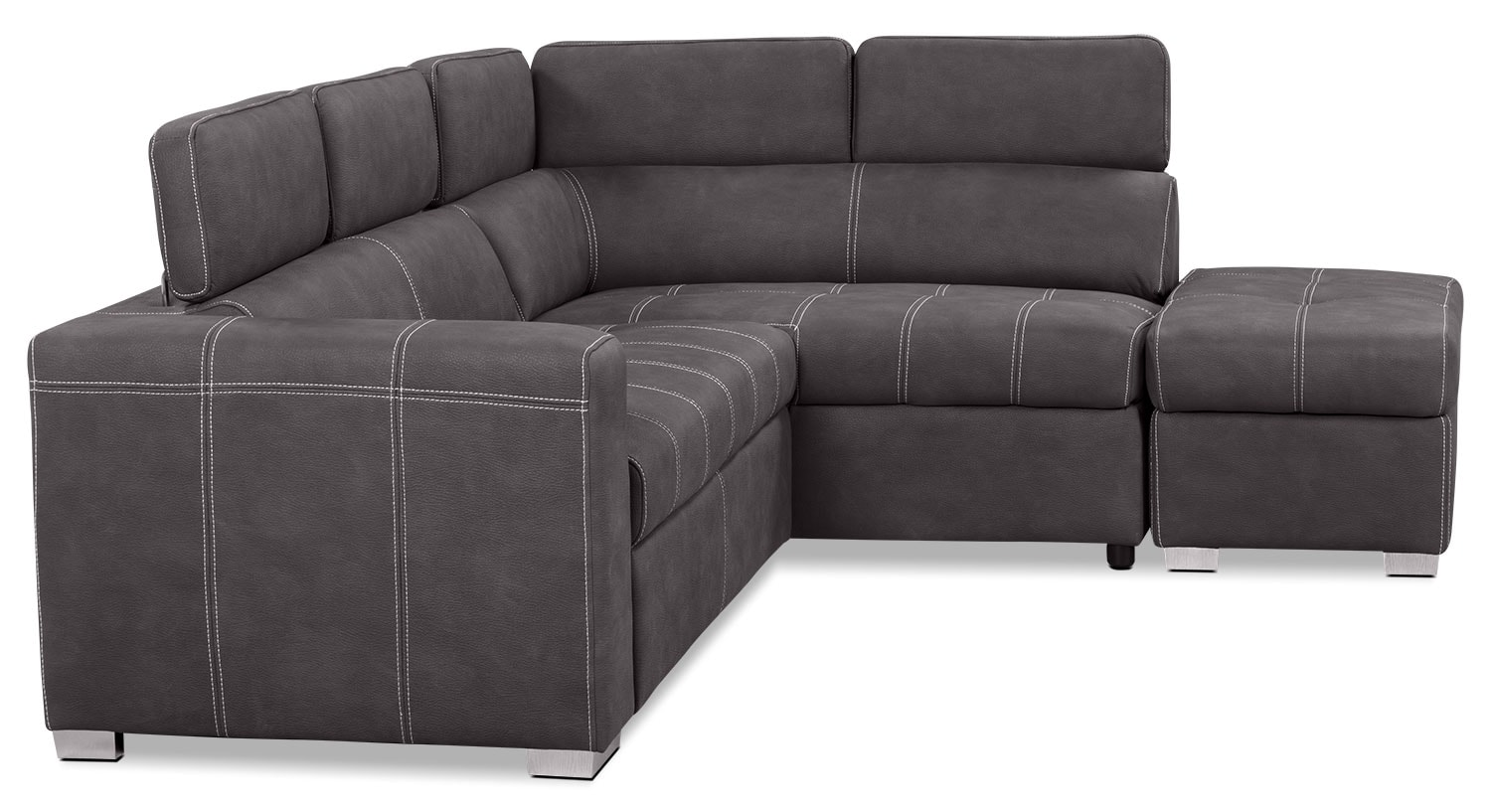 Drake 3 piece faux suede right facing sectional with sofa for Sectional sofa bed brick