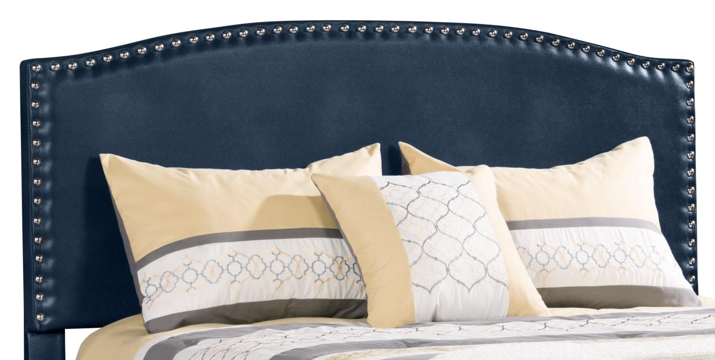 Bedroom Furniture - Benjamin Faux Leather Queen Panel Headboard – Navy