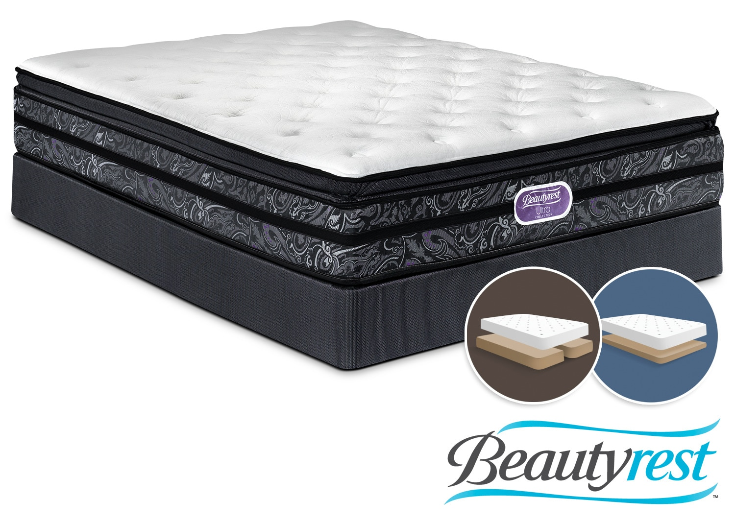 simmons beautyrest ultra trenton plush queen mattress and low profile split boxspring set leon 39 s. Black Bedroom Furniture Sets. Home Design Ideas