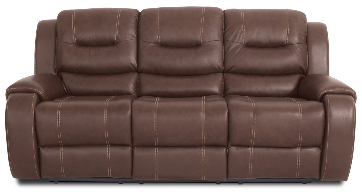 Nick Genuine Leather Reclining Sofa – Brown