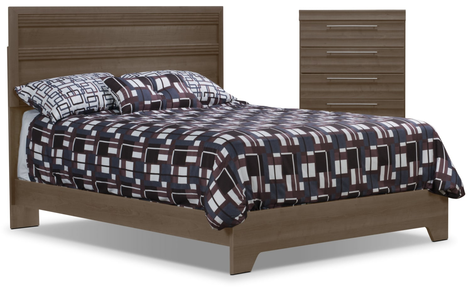Olivia 4 Piece Queen Bed And Chest Package Grey The Brick
