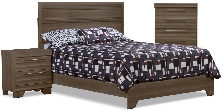 Chambre à coucher - Ens. de chambre à coucher Olivia 5 pièces avec grand lit, commode verticale et table de nuit - gris