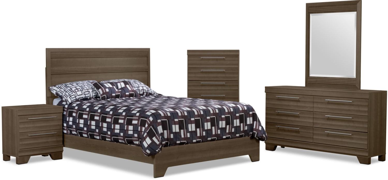 Bedroom Furniture - Olivia 7-Piece Queen Bedroom Package – Grey
