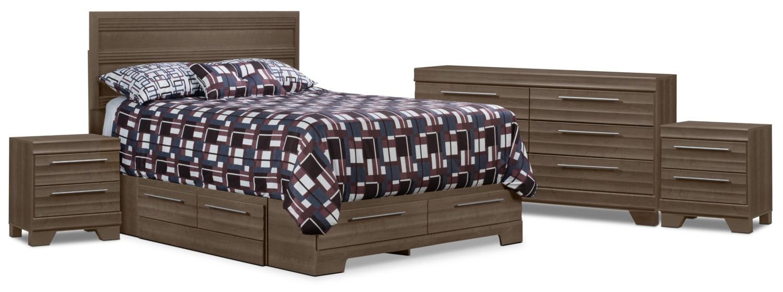 Chambre à coucher - Ens. de chambre à coucher Olivia 6 pièces avec grand lit de rangement et 2 tables de nuit - gris