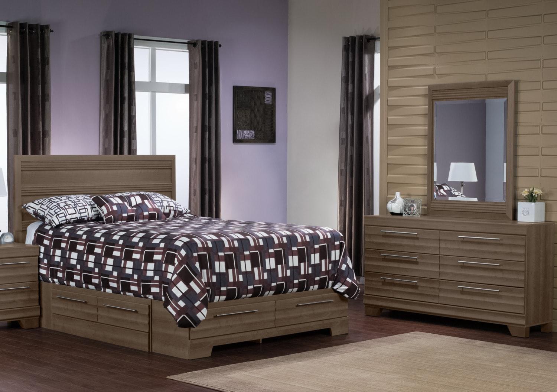 Bedroom Furniture - Olivia 5-Piece Queen Storage Bedroom Package – Grey