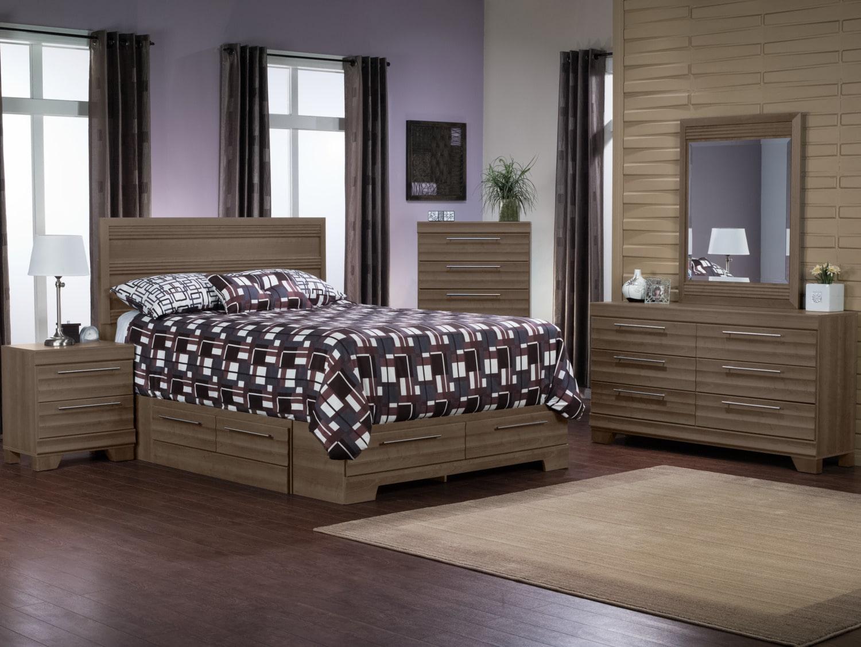 Bedroom Furniture - Olivia 8-Piece Queen Storage Bedroom Package – Grey