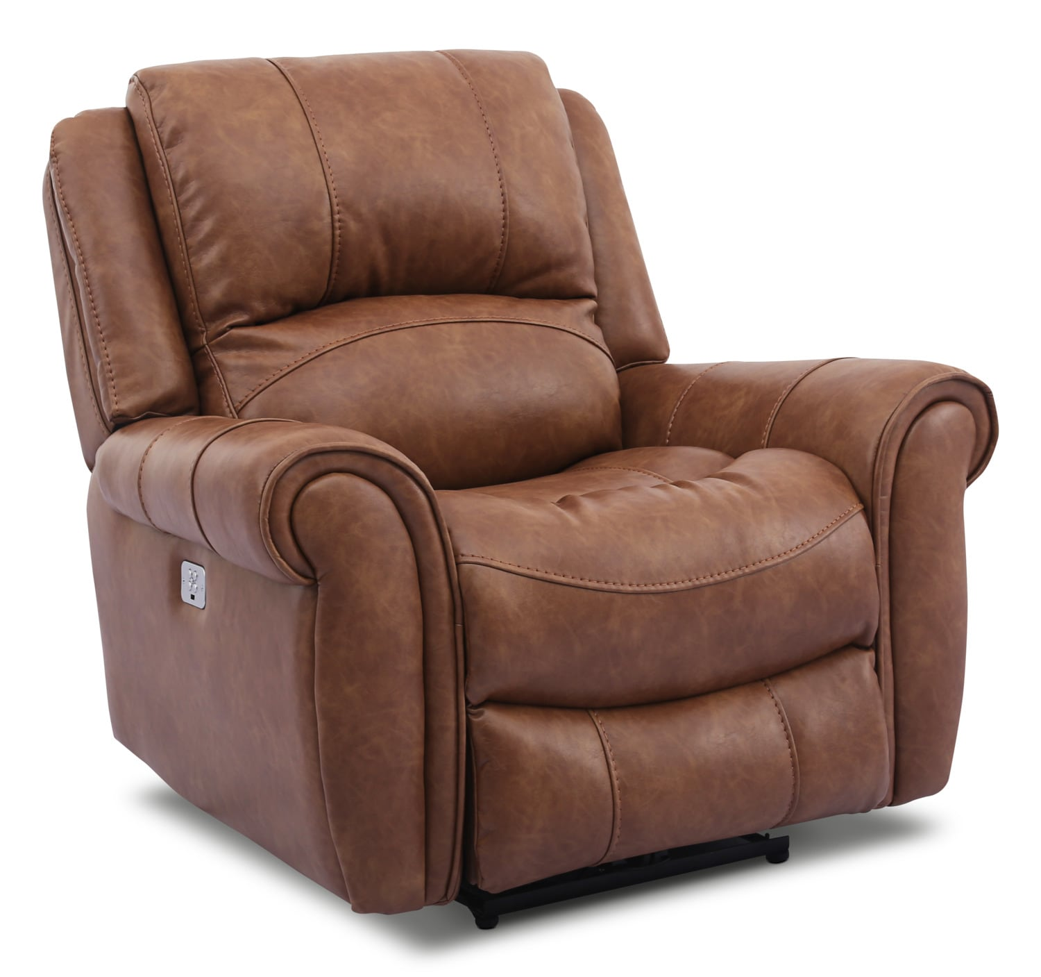 Living Room Furniture - Kane Leather-Look Fabric Power Reclining Chair – Saddle