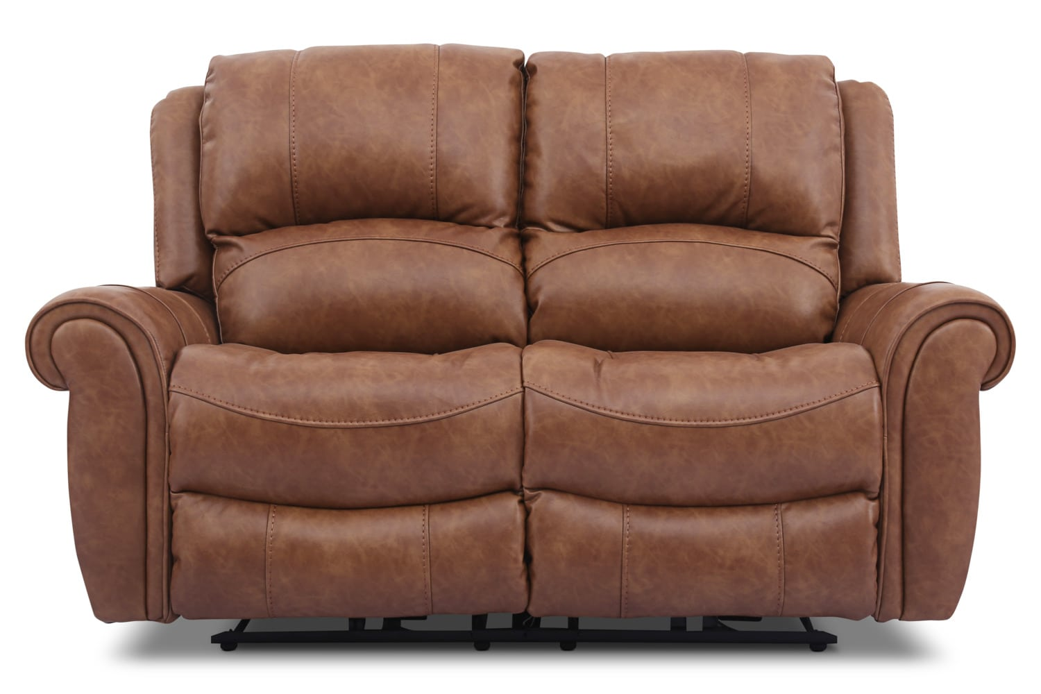 Living Room Furniture - Kane Leather-Look Fabric Power Reclining Loveseat – Saddle
