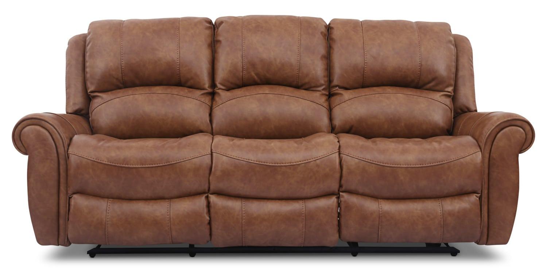 Kane Leather Look Fabric Power Reclining Sofa Saddle