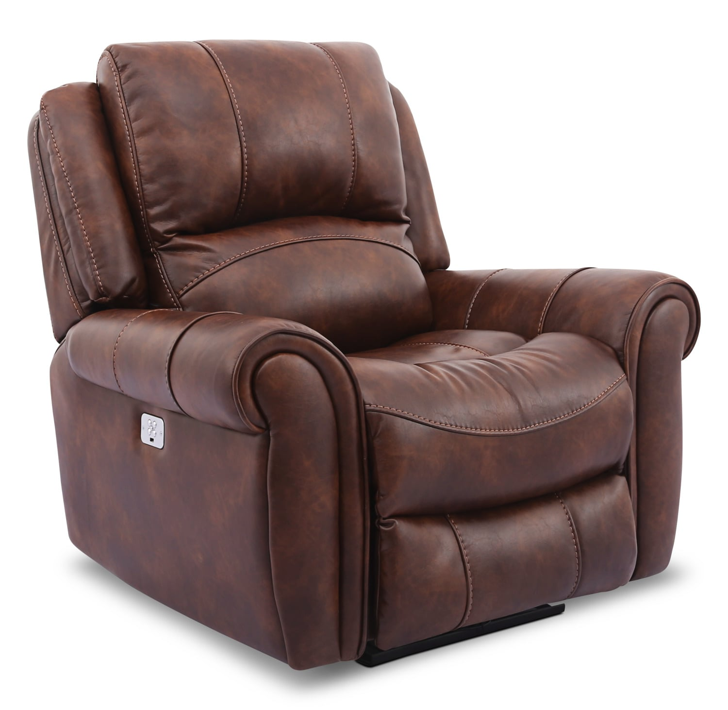 Kane Leather-Look Fabric Power Reclining Chair – Pecan