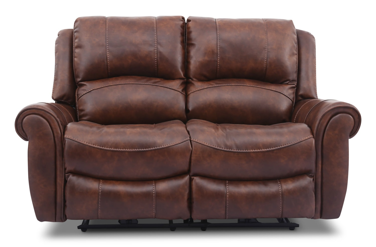 Living Room Furniture - Kane Leather-Look Fabric Power Reclining Loveseat – Pecan