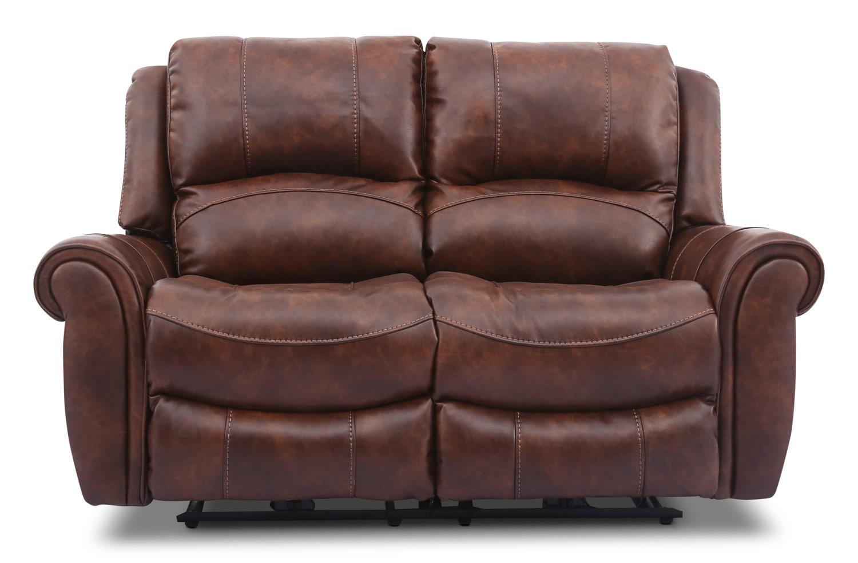 Living Room Furniture - Kane Leather-Look Fabric Power Reclining Loveseat – Pecan
