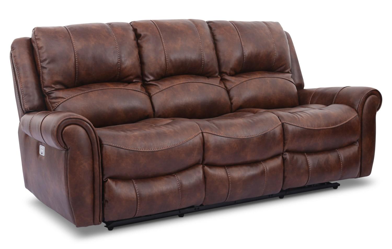 Kane Leather Look Fabric Power Reclining Sofa Pecan