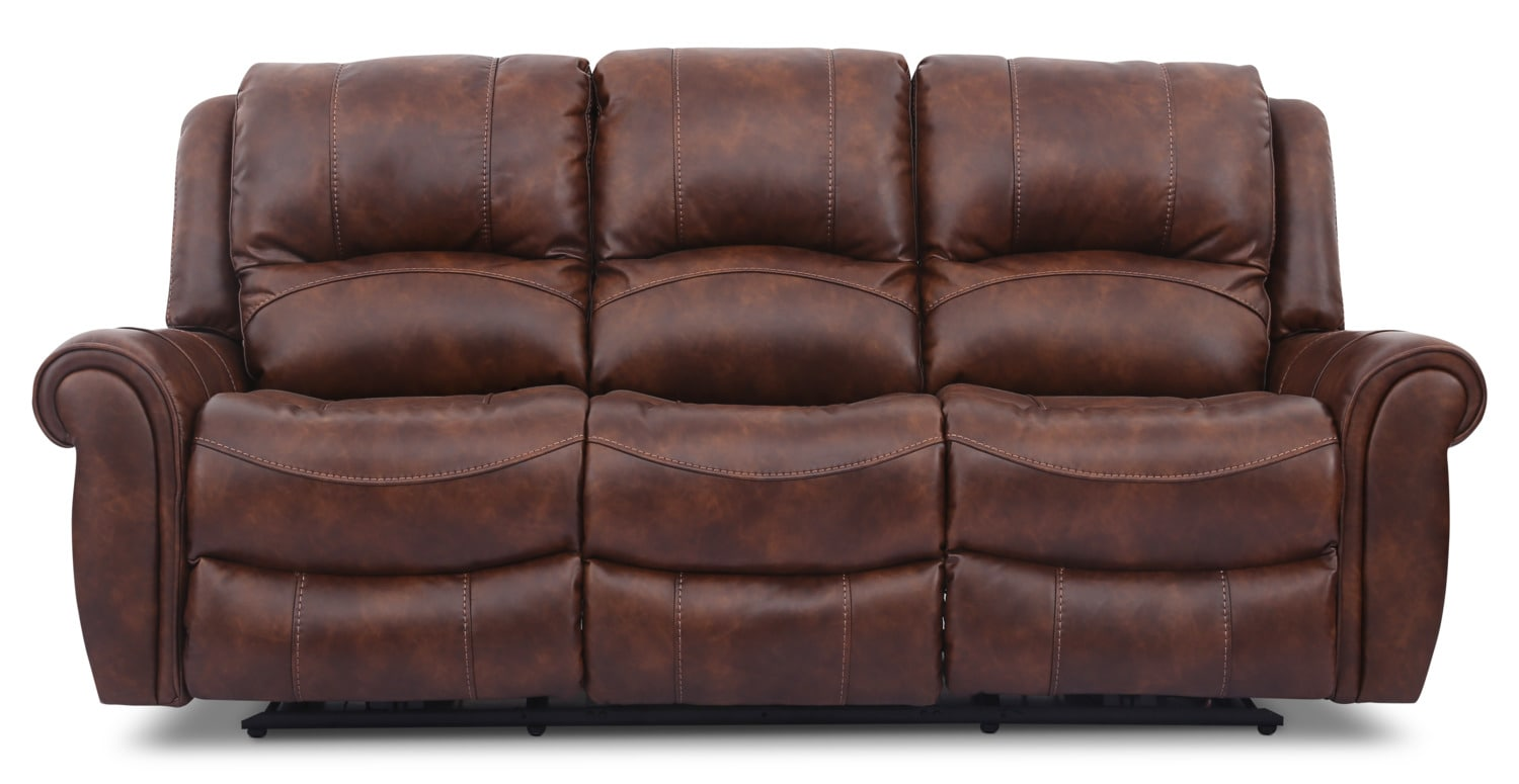 Kane Leather-Look Fabric Power Reclining Sofa – Pecan