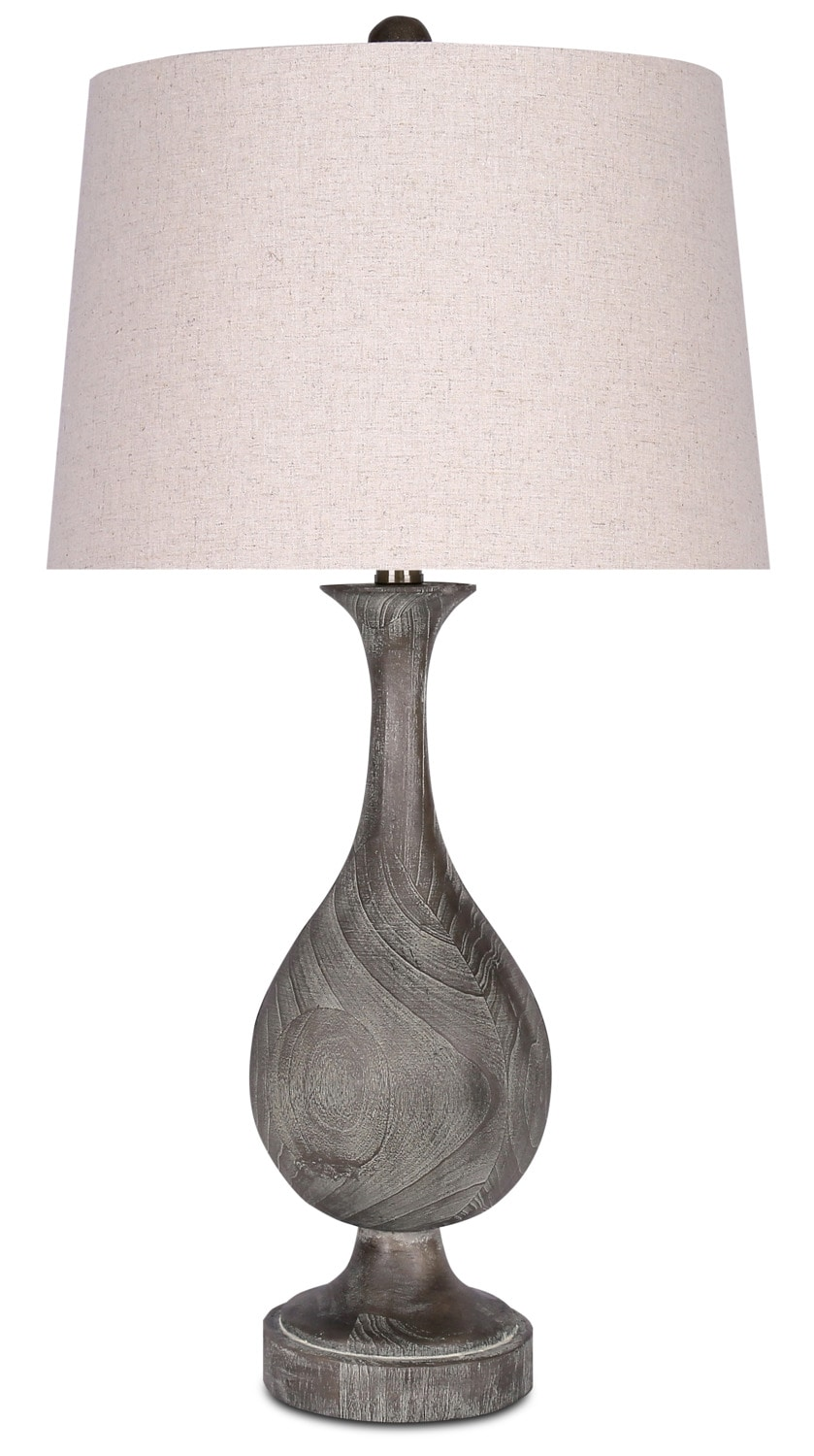 Acid Dusty Wood Resin Table Lamp with Linen Shade