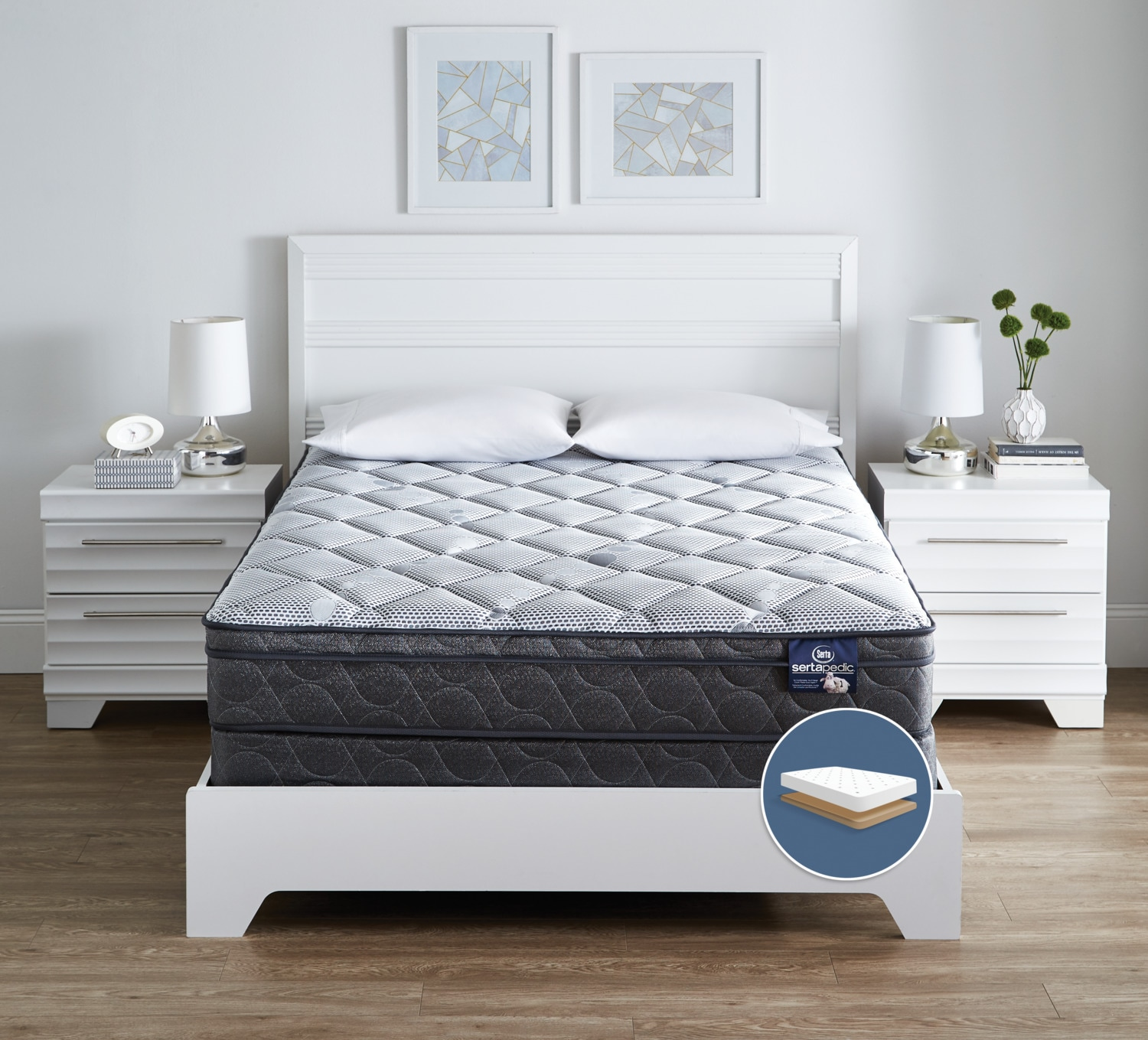 Ensemble matelas ferme euro plateau profil bas luxury for Matelas queen liquidation