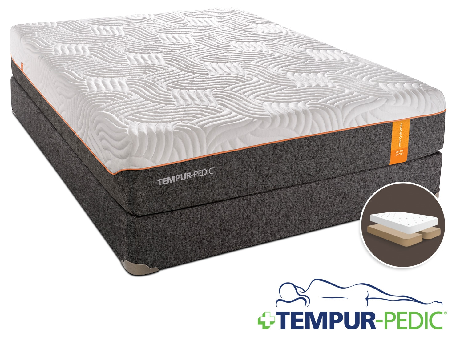 Tempur-Pedic Devote Firm King Mattress and Split Boxspring Set