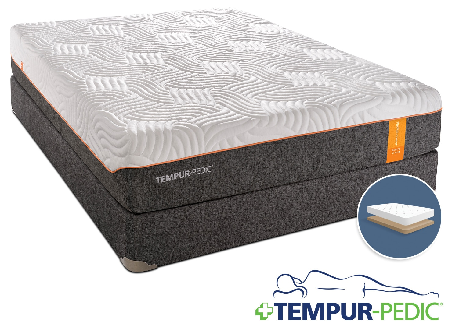 Tempur-Pedic Devote Firm Queen Mattress and Low-Profile Boxspring Set