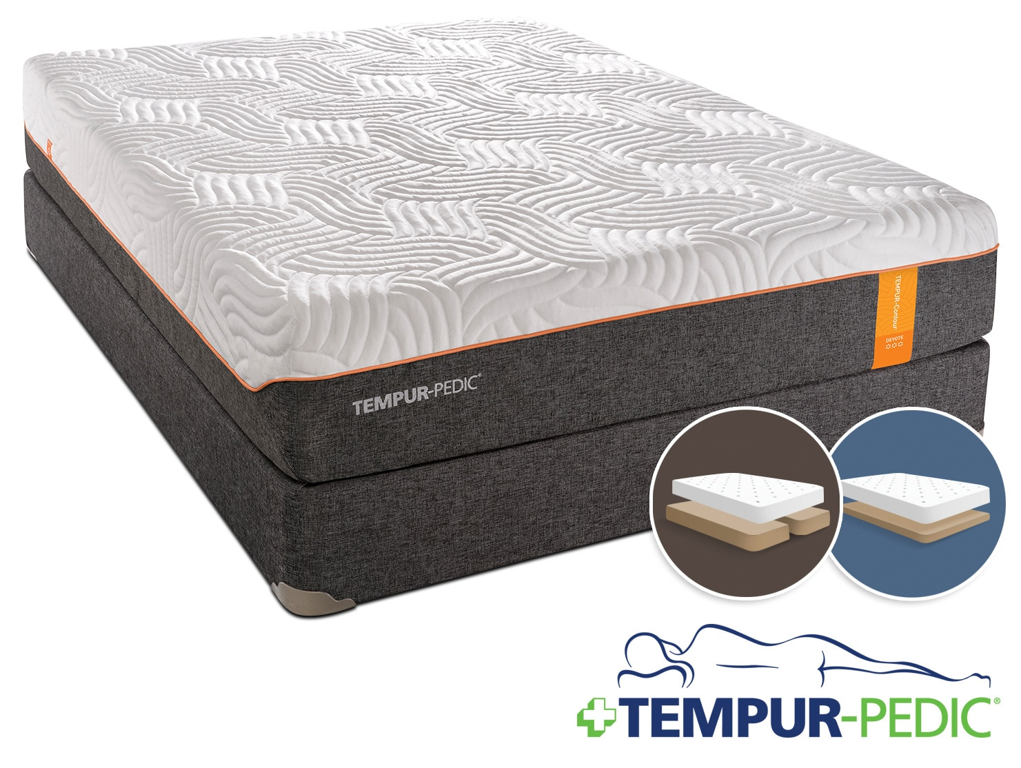 Tempur-Pedic Devote Firm King Mattress and Split Low-Profile Boxspring Set