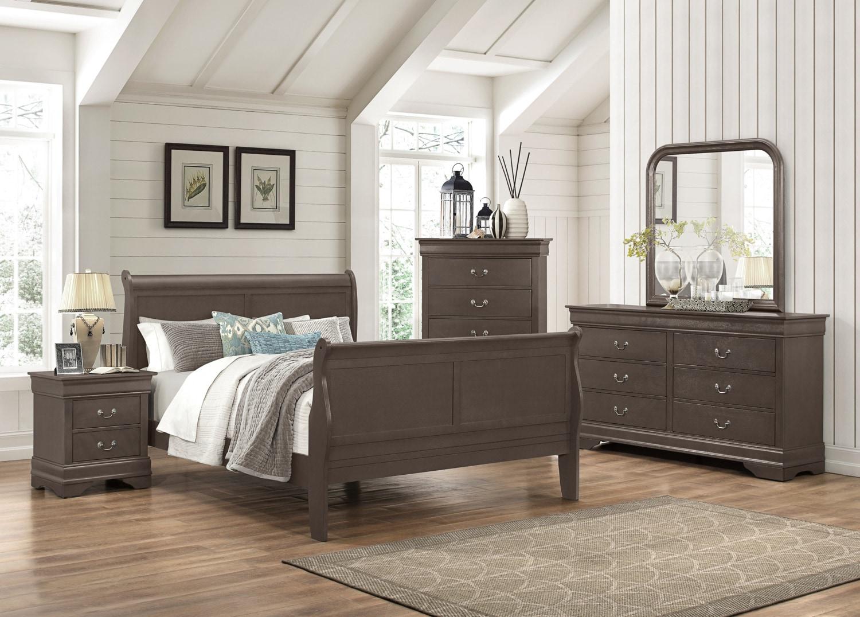 Lyla 5 piece queen bedroom package grey the brick - 5 piece queen sleigh bedroom set ...