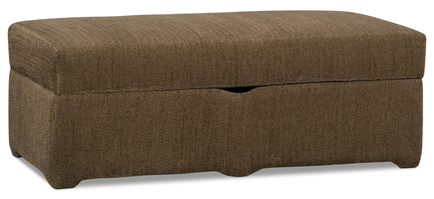 Morty Chenille Storage Ottoman - Brown