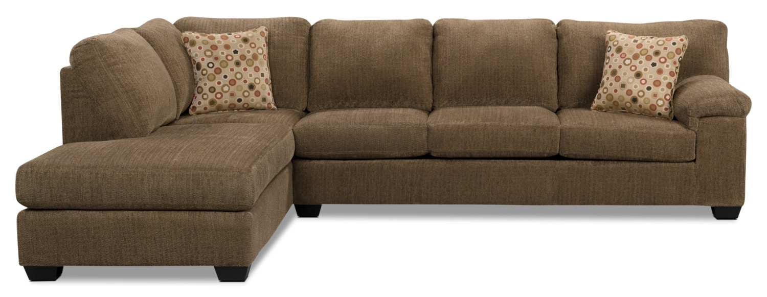 Morty chenille sectional with left chaise brown the brick for Brown sectionals with chaise