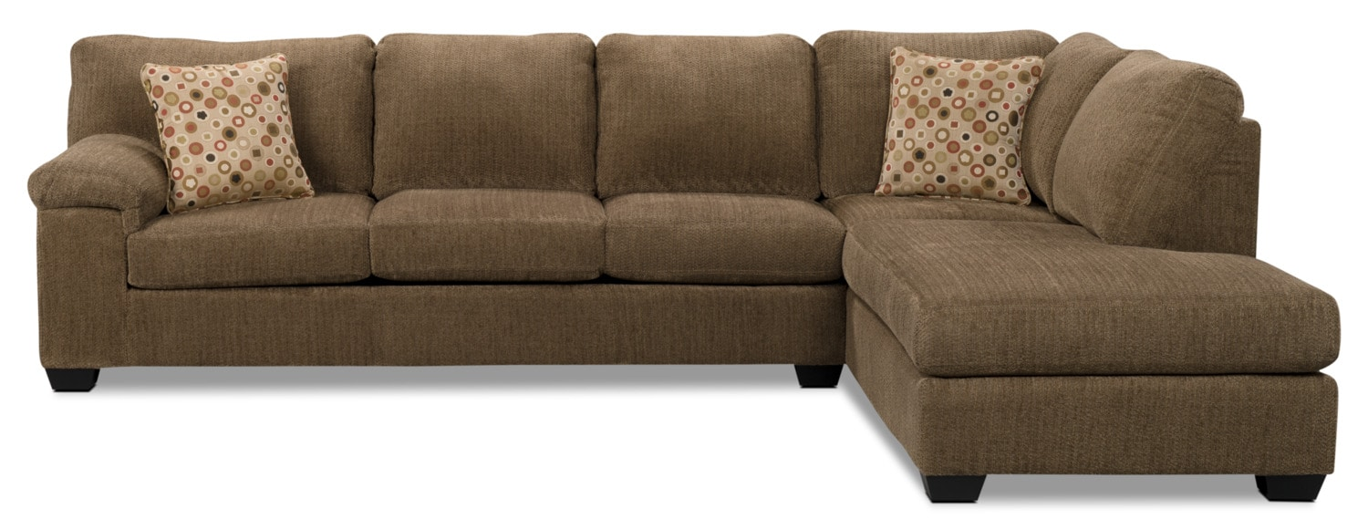 Morty chenille sofa bed sectional with right chaise for Brown chaise sofa