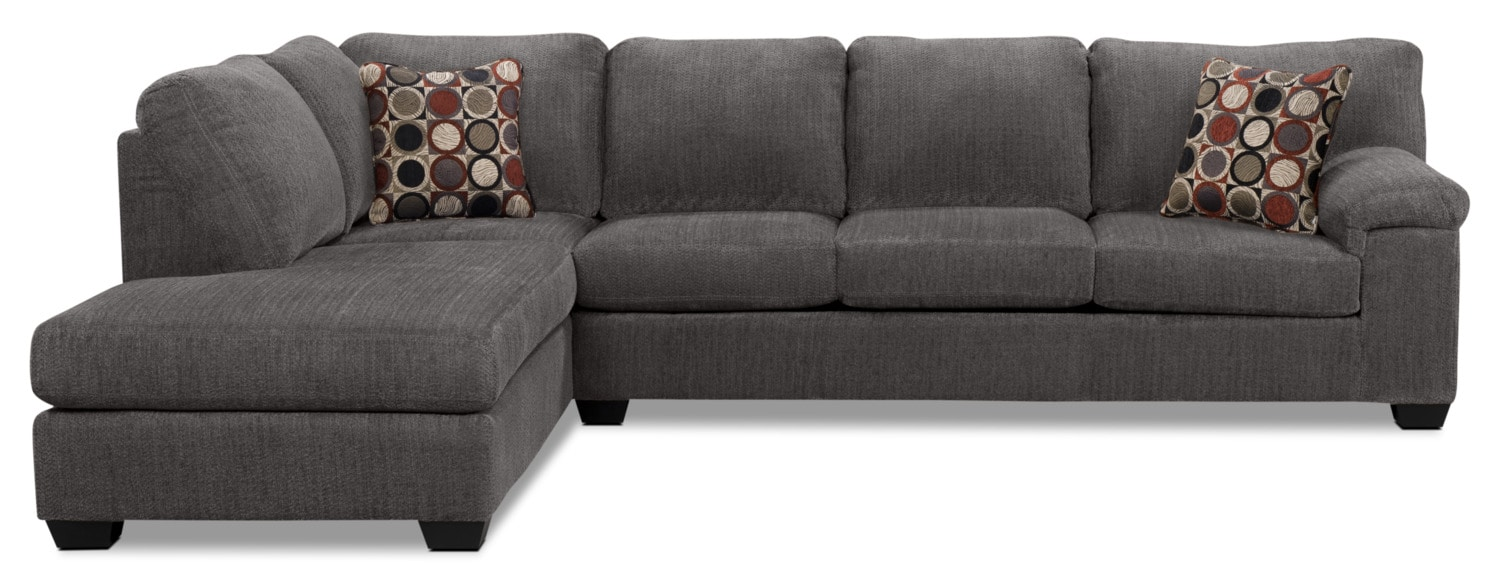 Living Room Furniture - Morty 2-Piece Chenille Left-Facing Sectional – Grey