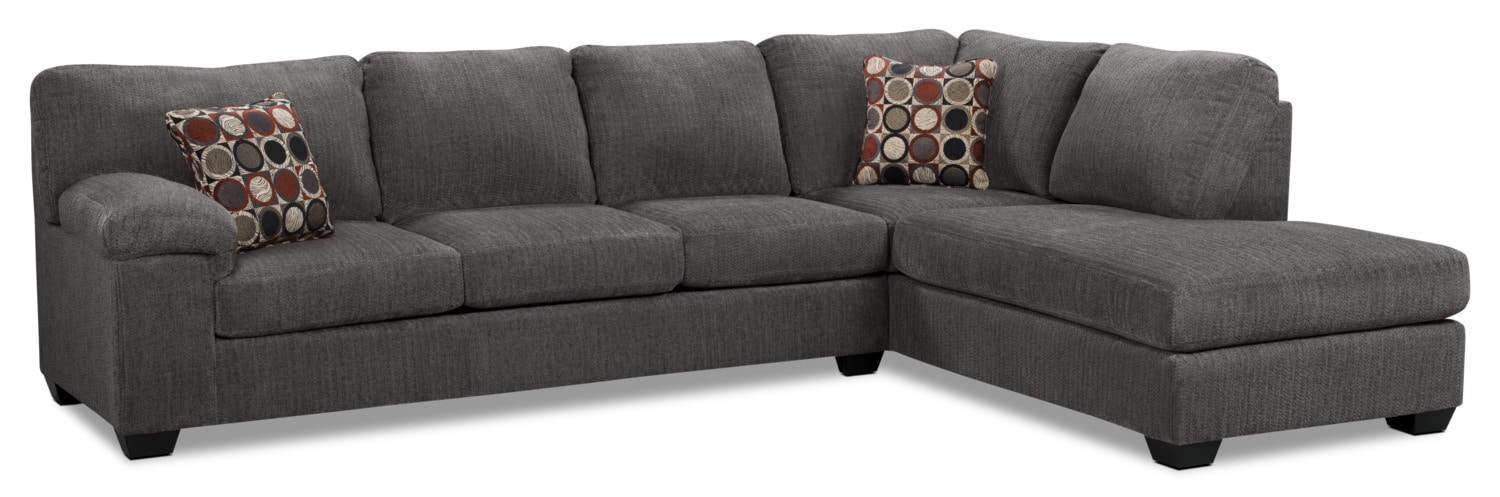 Morty 2 piece chenille right facing sofa bed sectional for Two piece sectional sofa bed