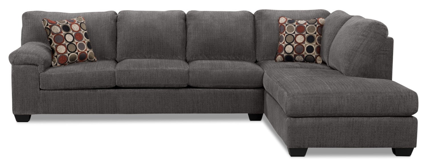 Living Room Furniture - Morty 2-Piece Chenille Right-Facing Sectional – Grey