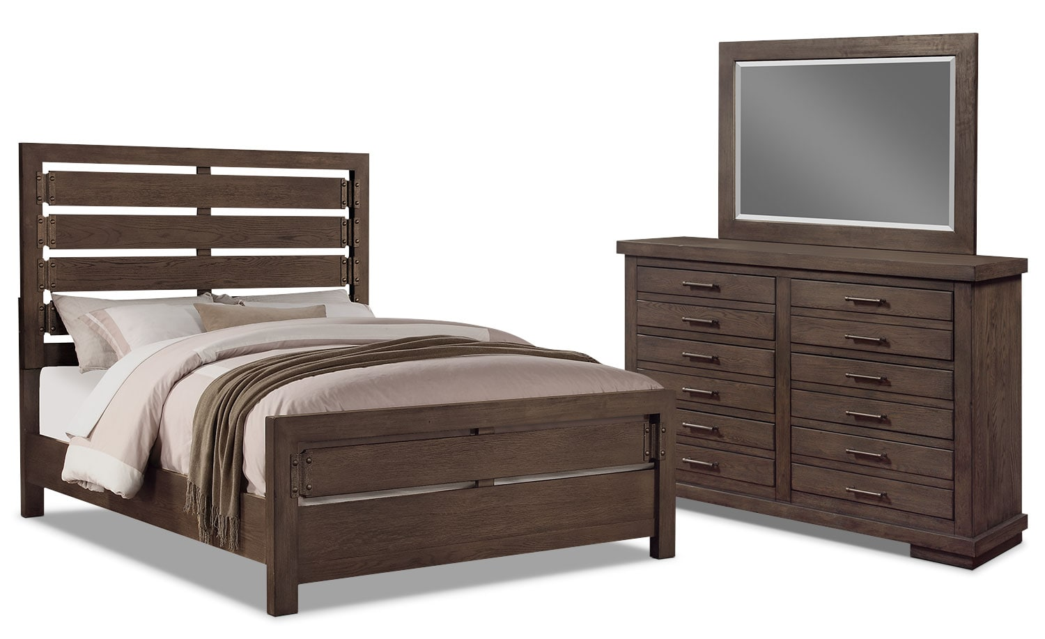 Revolution 5 piece king bedroom package the brick for Bedroom furniture packages