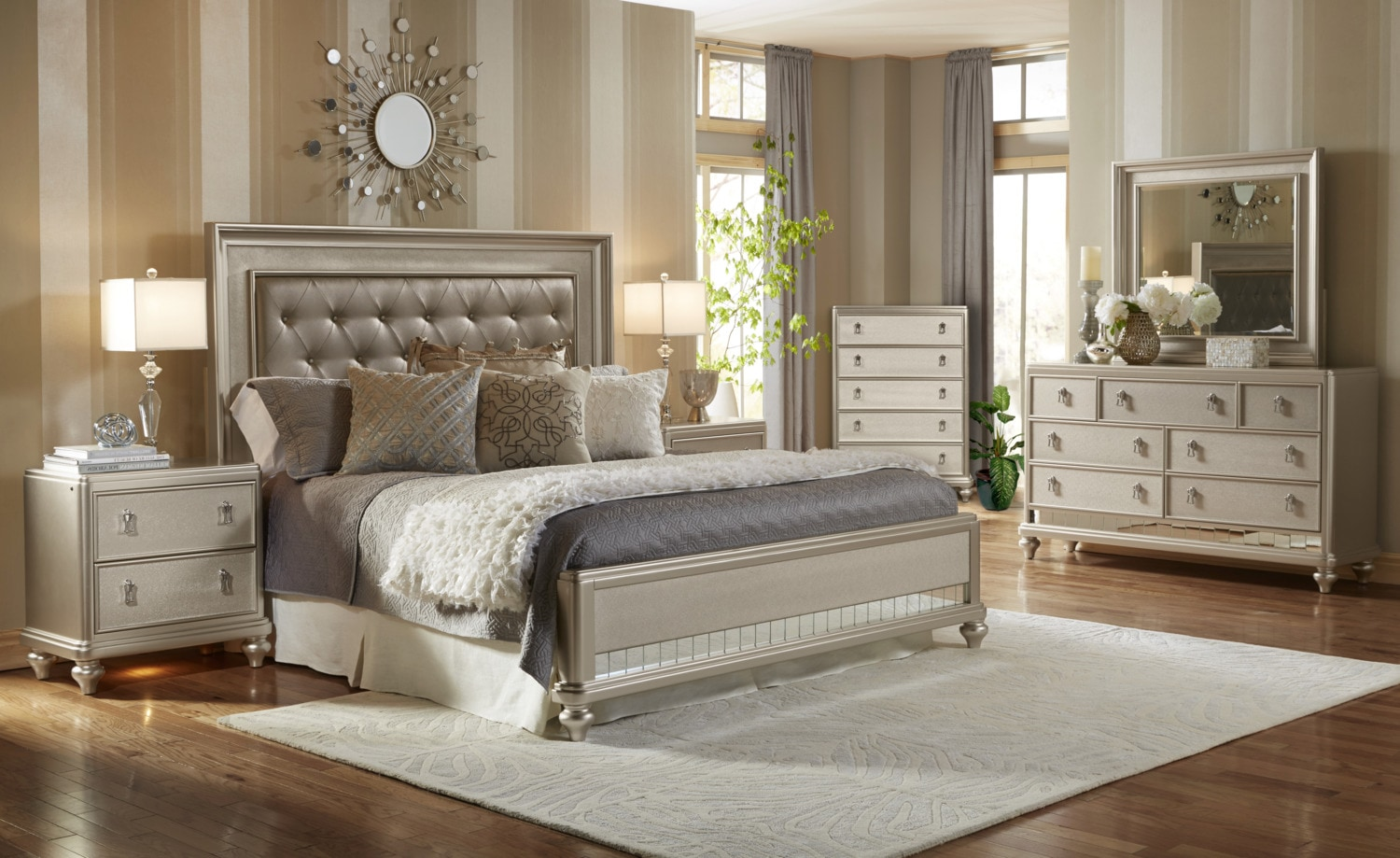 Diva 8 piece queen bedroom package the brick - Cheap bedroom furniture packages ...