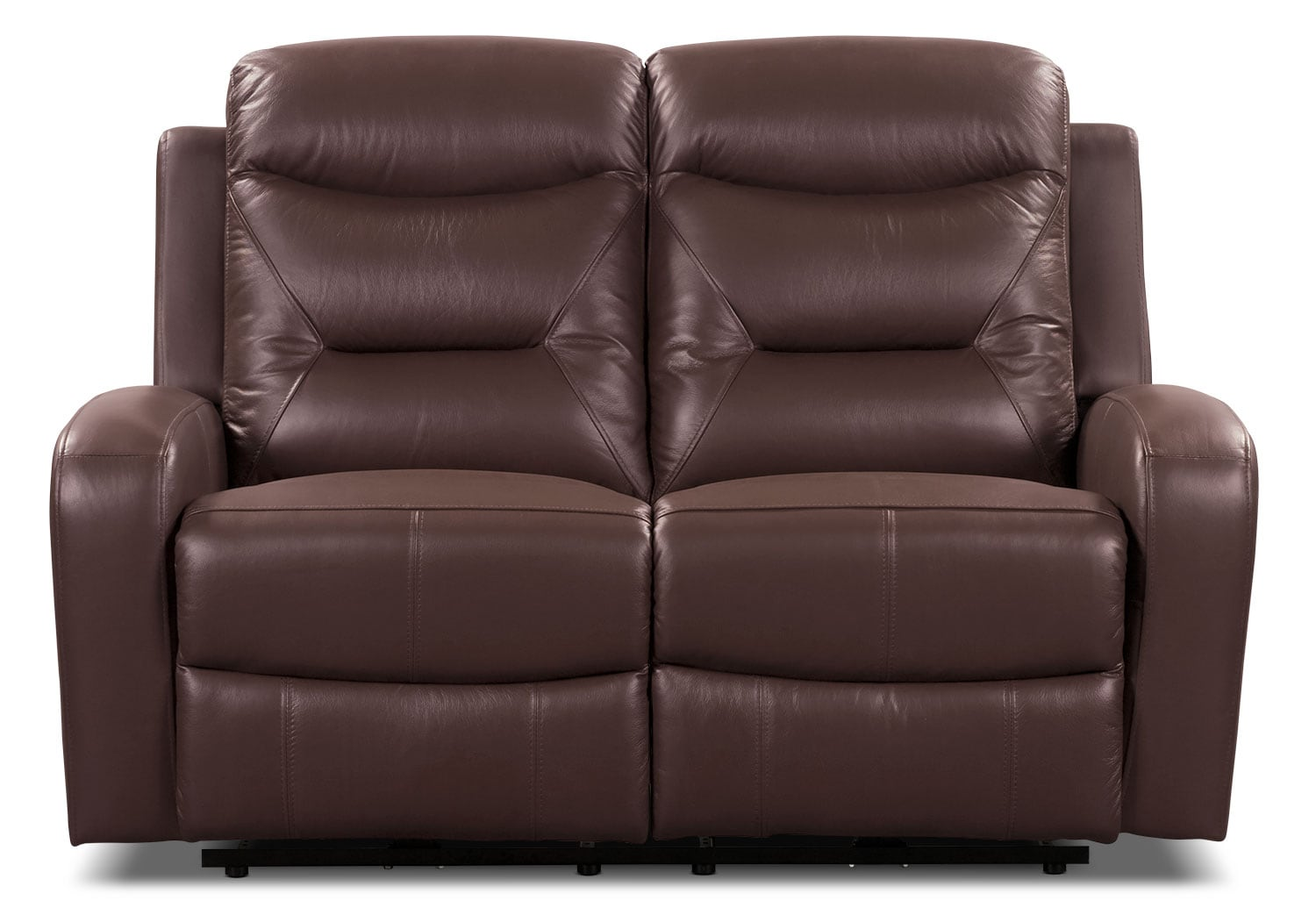 Living Room Furniture - River Genuine Leather Power Reclining Loveseat – Brown