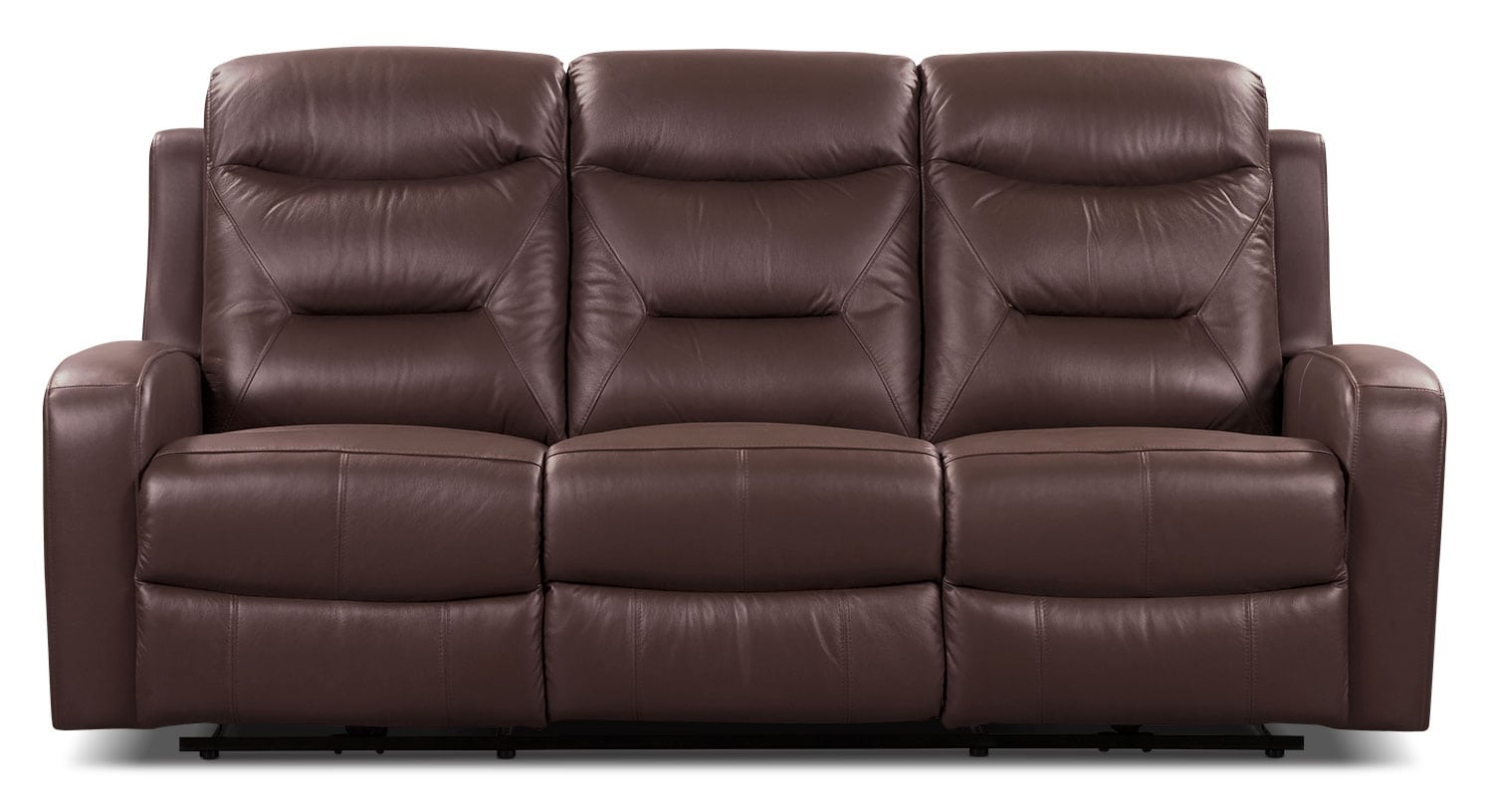 Living Room Furniture - River Genuine Leather Power Reclining Sofa – Brown