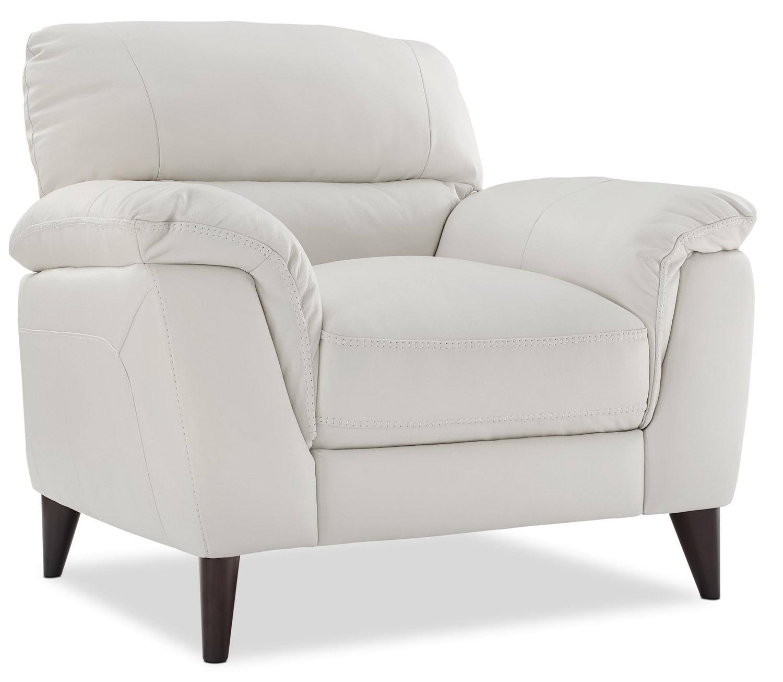 Chloe Genuine Leather Chair – White