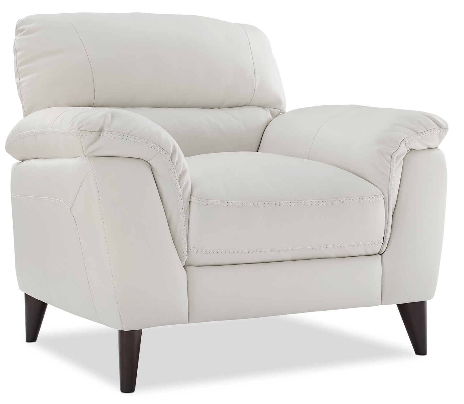 Living Room Furniture - Chloe Genuine Leather Chair – White