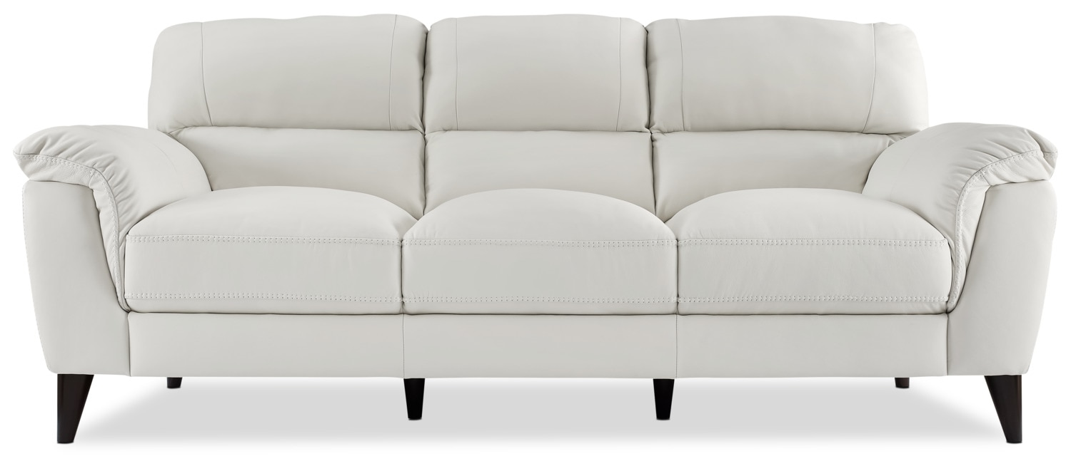 Chloe Genuine Leather Sofa – White