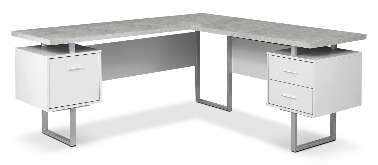 Home Office Furniture - Bowen Corner Desk - White and Cement-Look