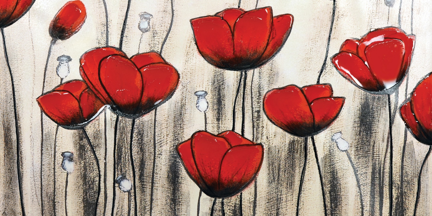 """Accent and Occasional Furniture - Poppies Canvas Art (60"""" x 30"""")"""