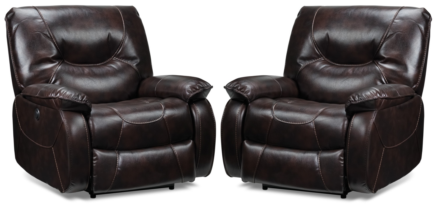 Canton 2-Pack of Power Recliners - Dark Brown