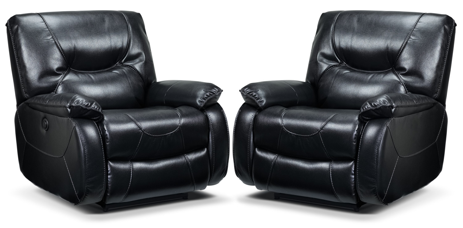 Canton 2-Pack of Power Recliners - Black