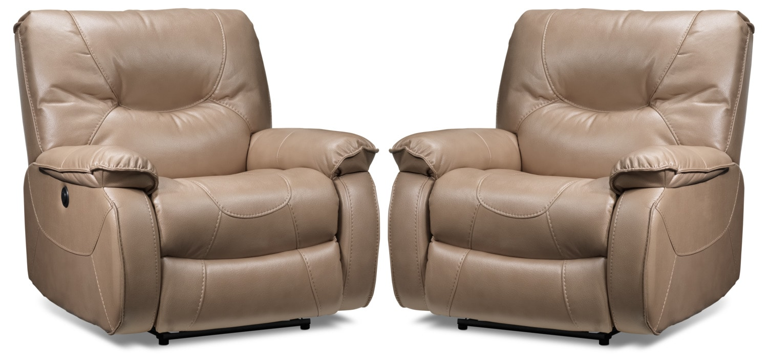 Canton 2-Pack of Power Recliners - Taupe