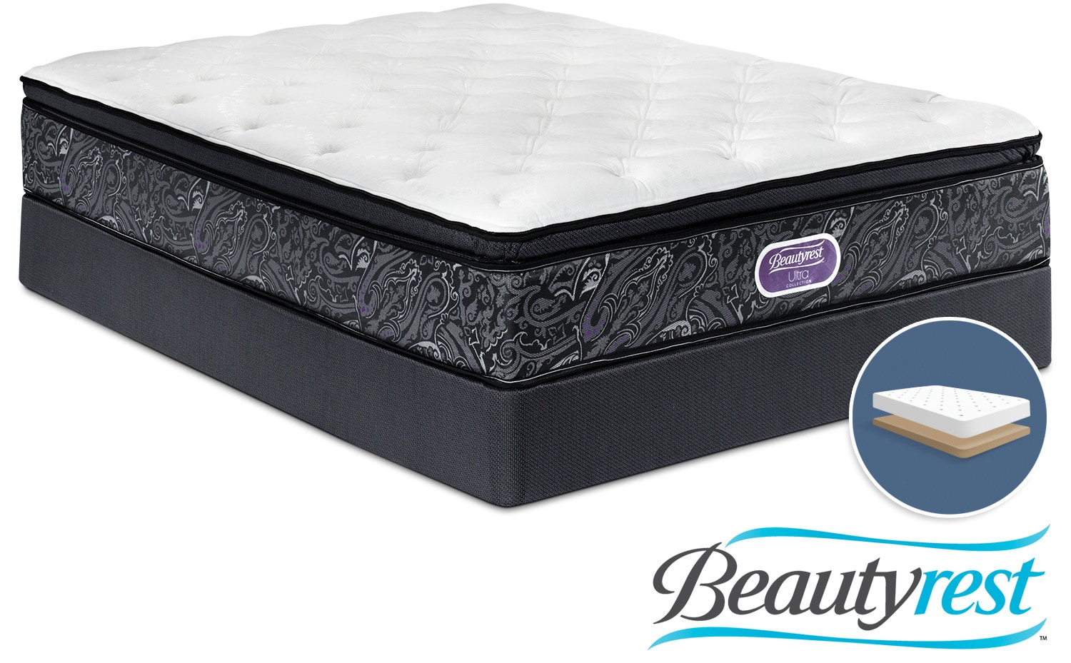 Simmons Beautyrest Ultra Haley Firm Queen Mattress and Low-Profile Boxspring Set
