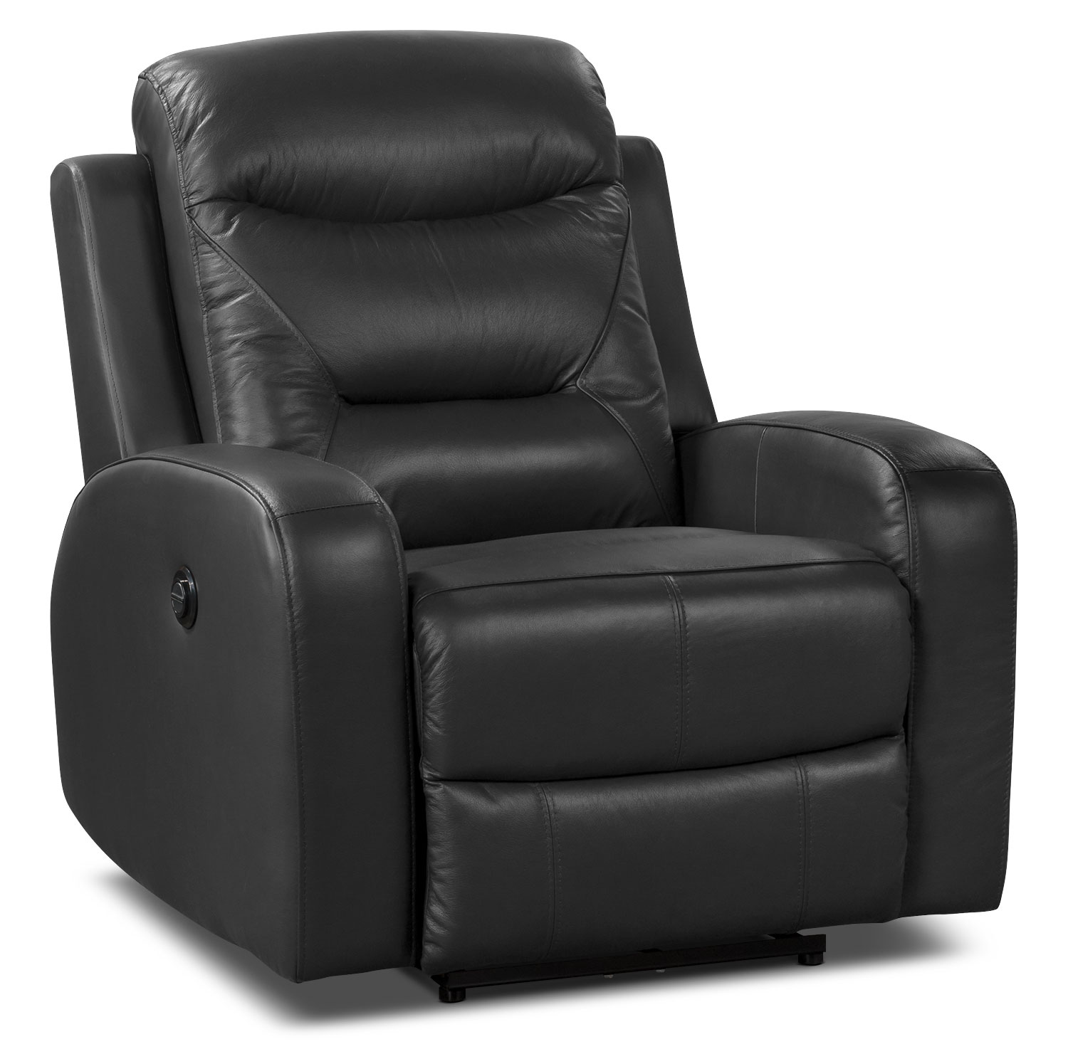 Living Room Furniture - River Genuine Leather Power Reclining Chair – Black
