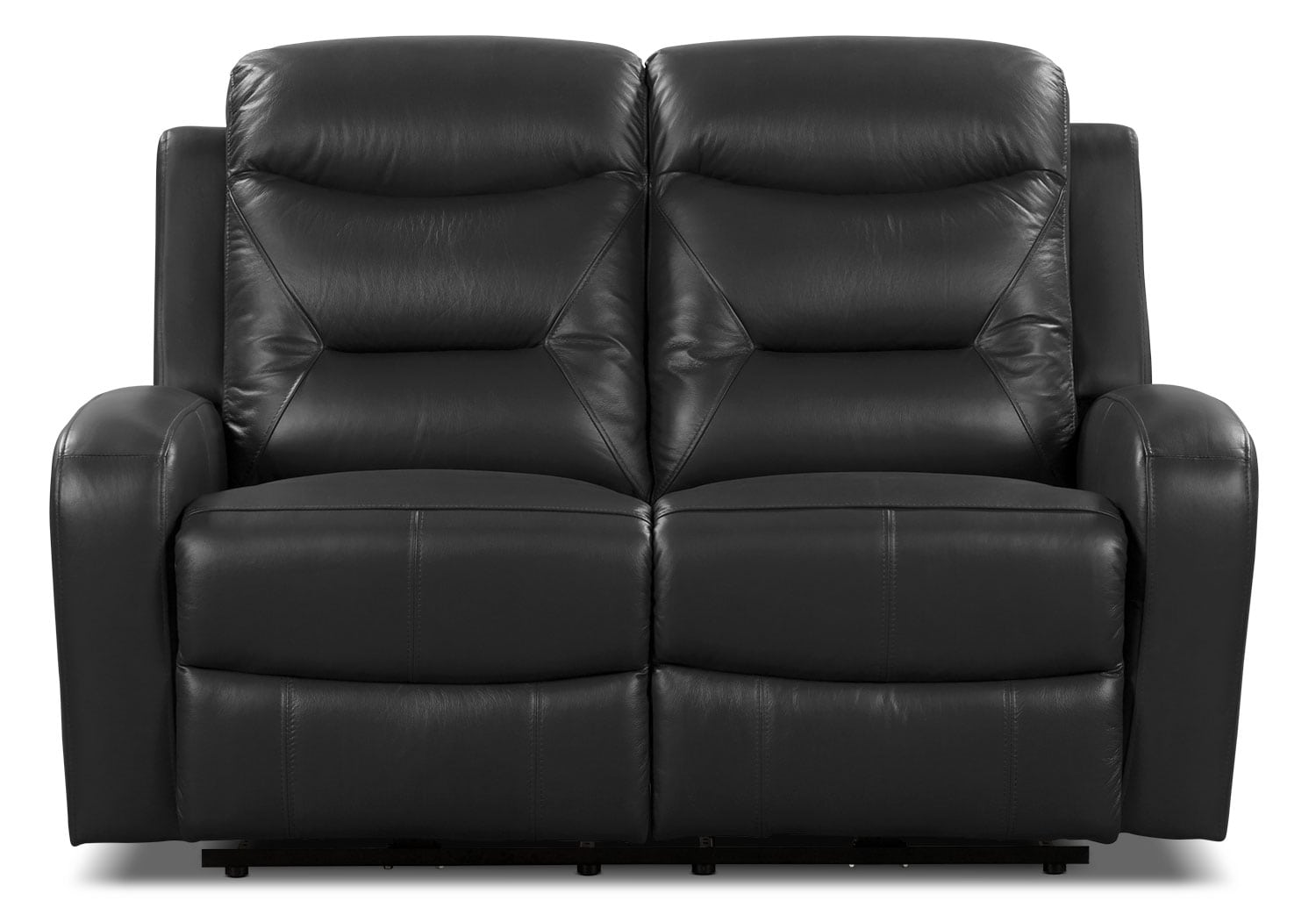 River Genuine Leather Power Reclining Loveseat – Black