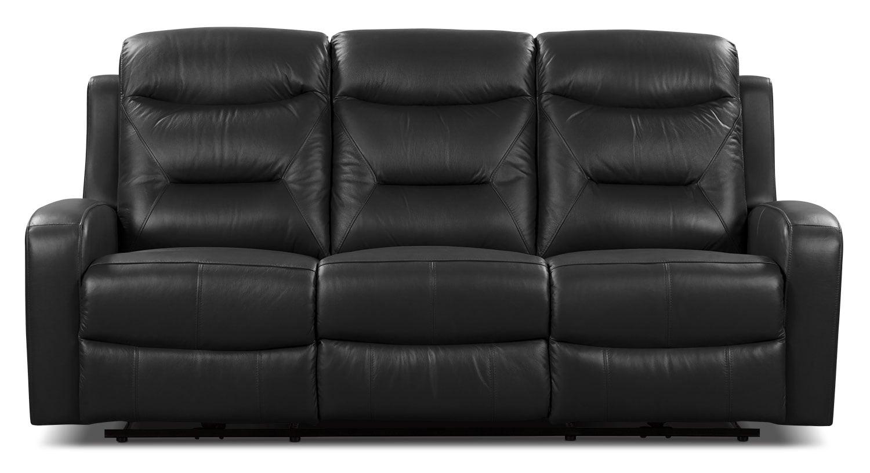 Living Room Furniture - River Genuine Leather Power Reclining Sofa – Black